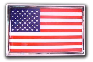 US Flag Chrome Emblem w/ Adhesive Back