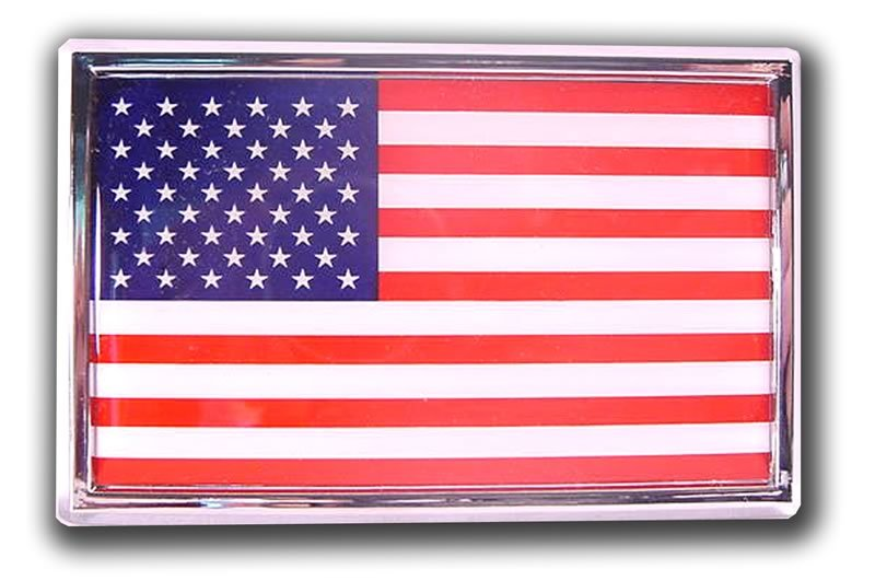 US Flag Chrome Emblem w/ Adhesive Back 1