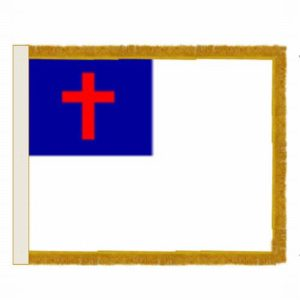 Gold Fringe Christian Flag